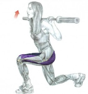 Barbell lunges on the shoulders